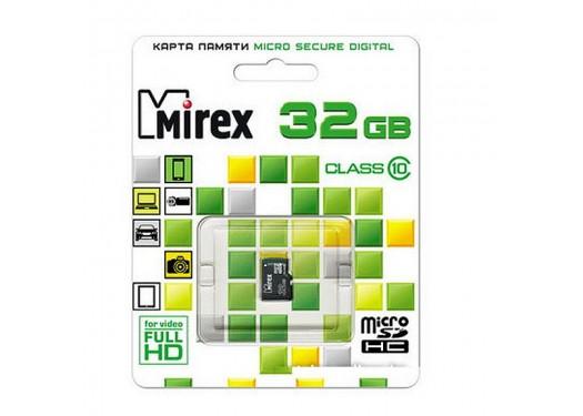 Карта памяти microSDHC без  адаптера MIREX 32 GB (class 10)