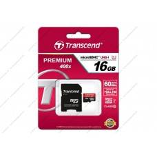 Карта памяти Transcend Premium micro SDHC Card U1 UHS-I 16GB (60Mb/s. 400x), class 10