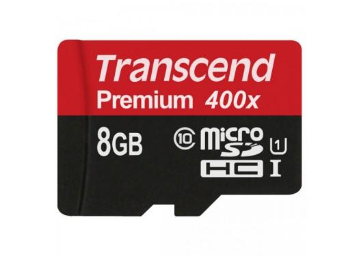 Карта памяти Transcend Premium micro SDHC Card U1 UHS-I 8GB (60Mb/s. 400x), class 10 без адаптера