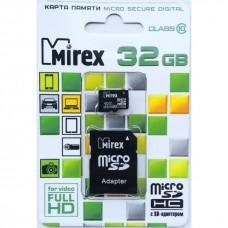 Карта памяти microSDHC с адаптером MIREX 32 GB (class 10)
