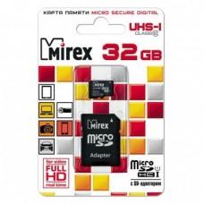 Карта памяти microSDHC с адаптером MIREX 32 GB (UHS-I. class 10)