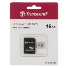 Карта памяти Transcend 300S micro SDHC Card U1 UHS-I 16GB (95Mb/s. 400x), class 10 U1