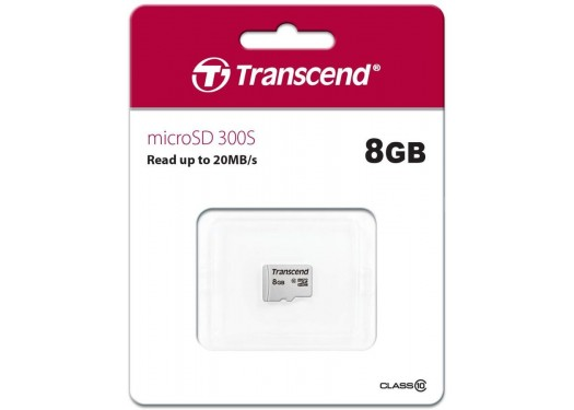 Карта памяти Transcend 300S micro SDHC Card U1 UHS-I 8GB (20Mb/s. 200x), class 10 U1 без адаптера