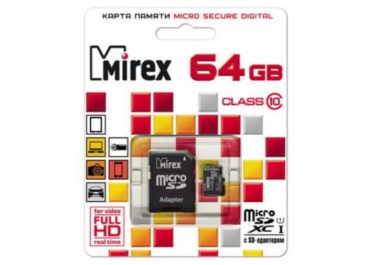 Карта памяти microSDXC с адаптером MIREX 64 GB UHS-I  (class 10)