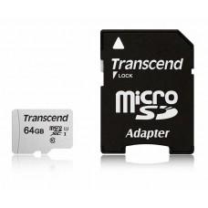 Карта памяти Transcend 330S micro SDHC Card U1 UHS-I 64GB (100Mb/s. 450x), class 10 U3, запись 4K