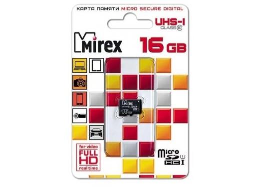 Карта памяти microSDHC с адаптером MIREX 16 GB (UHS-I. class 10)