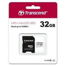 Карта памяти Transcend 300S micro SDHC Card U1 UHS-I 32GB (95Mb/s. 400x), class 10 U1